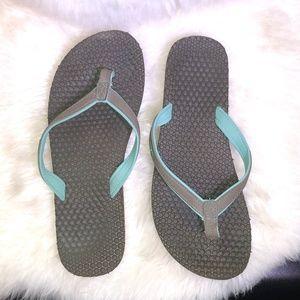 Sanuk Yoga Mat Brown/Teal Flip Flops Womens Size 6